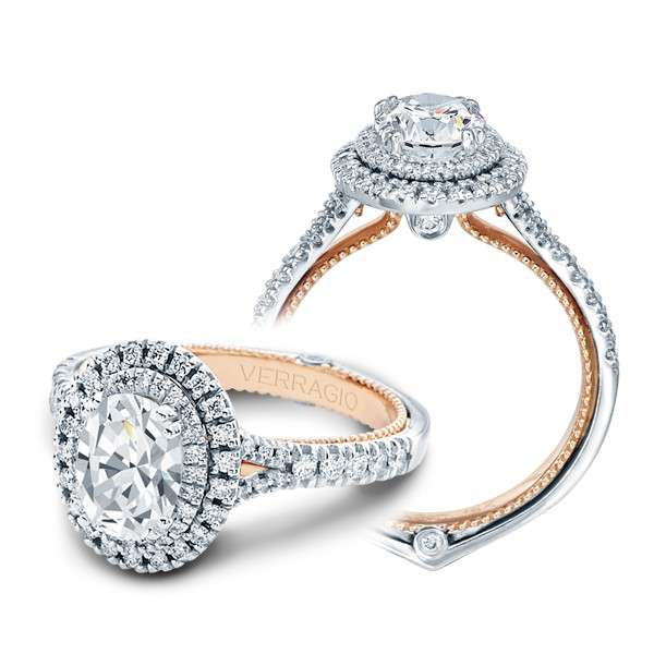 Verragio Double Halo Pave Couture Designer Engagement Ring