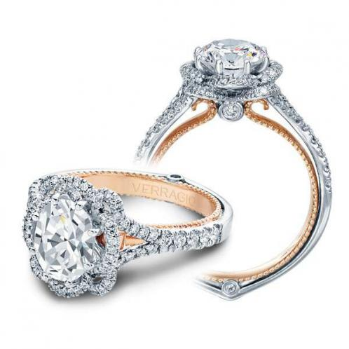 Verragio Halo Pave Couture Designer Engagement Ring