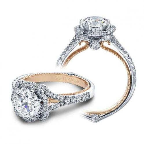 Verragio Pave Halo Couture Designer Engagement Ring