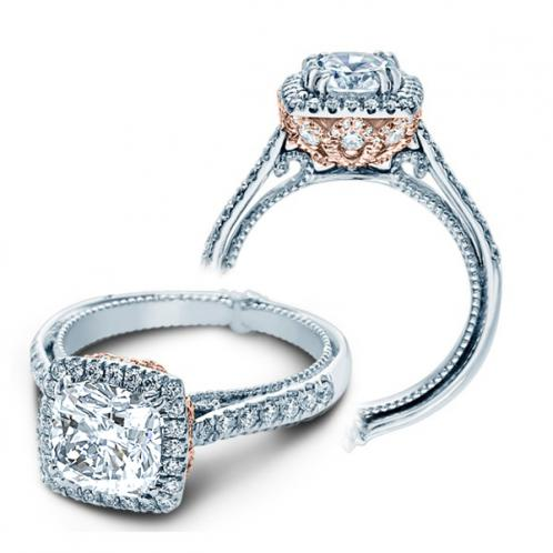 Verragio Halo Pave Designer Couture Engagement Ring