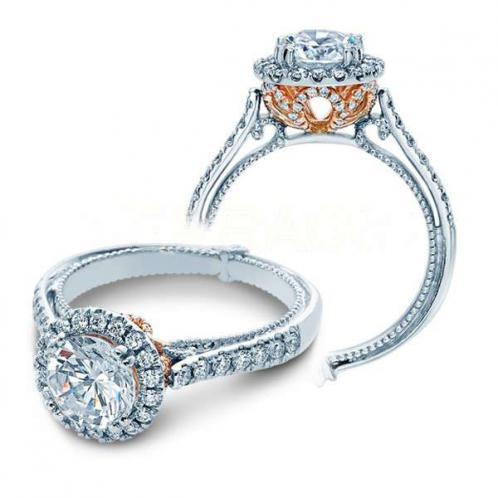 Natural Verragio Halo Couture Designer Engagement Ring