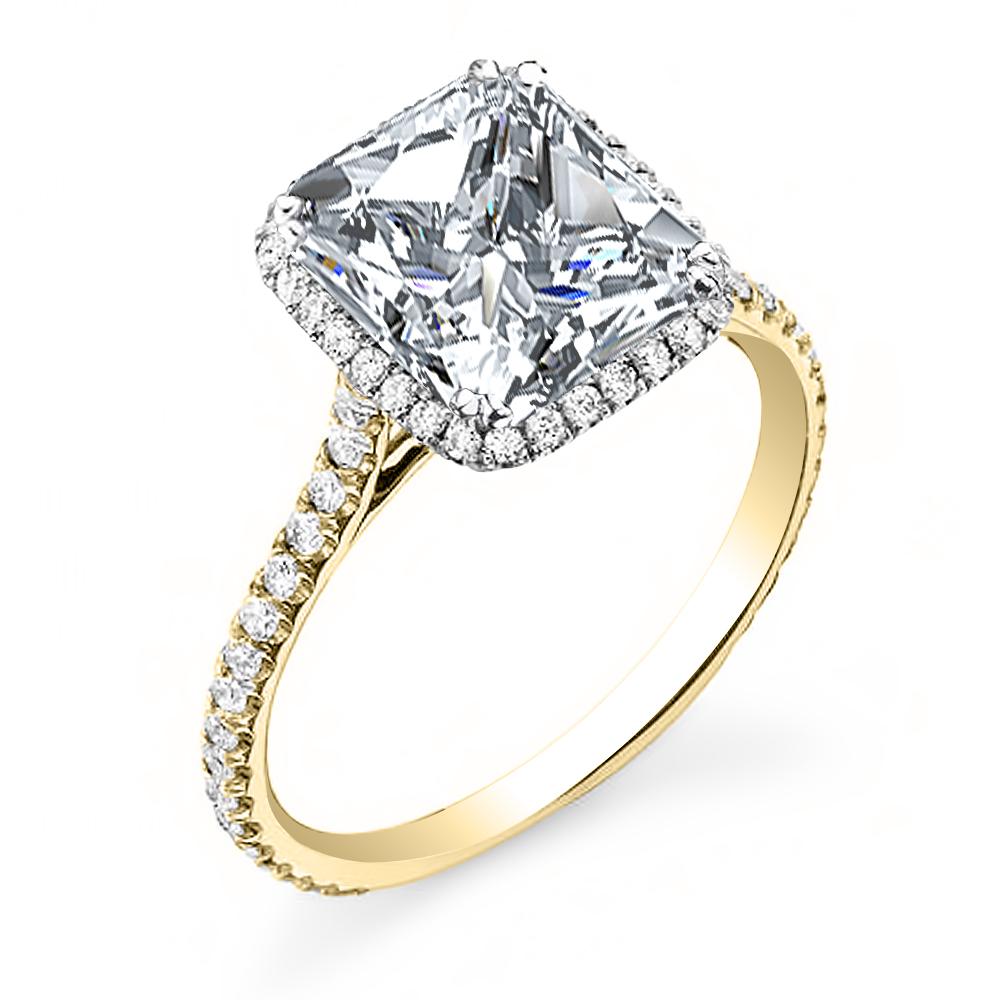 Natural Halo U-Prong Pave Diamond Engagement Ring