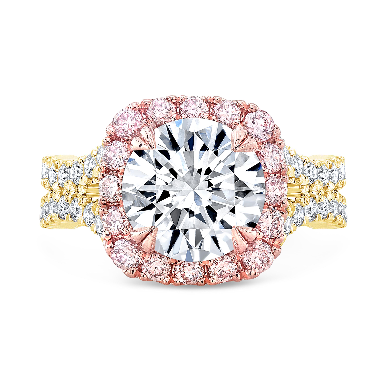 Pink Halo Curved Split Shank Engagement Ring