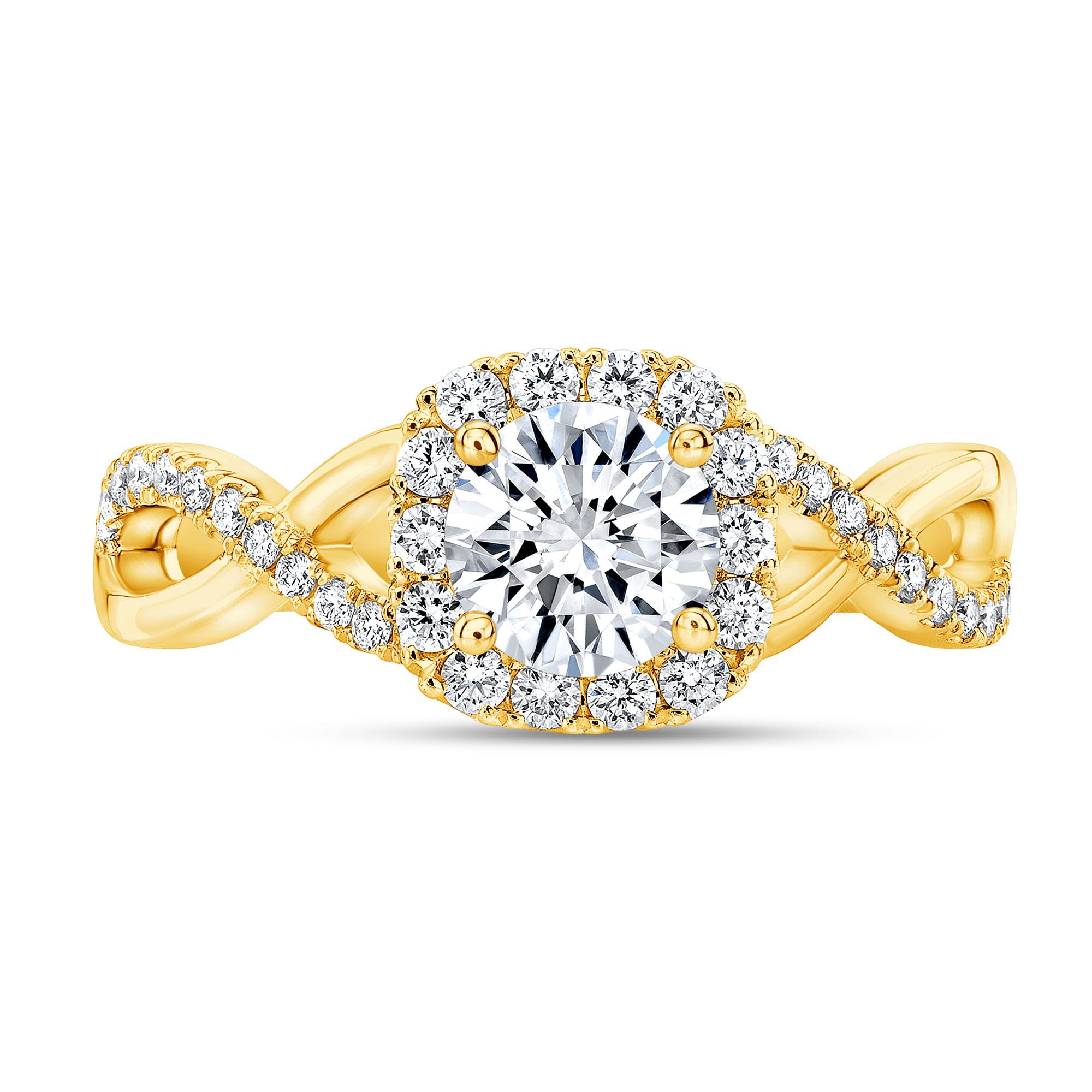 Natural Halo Half Infinity Pave Diamond Engagement Ring