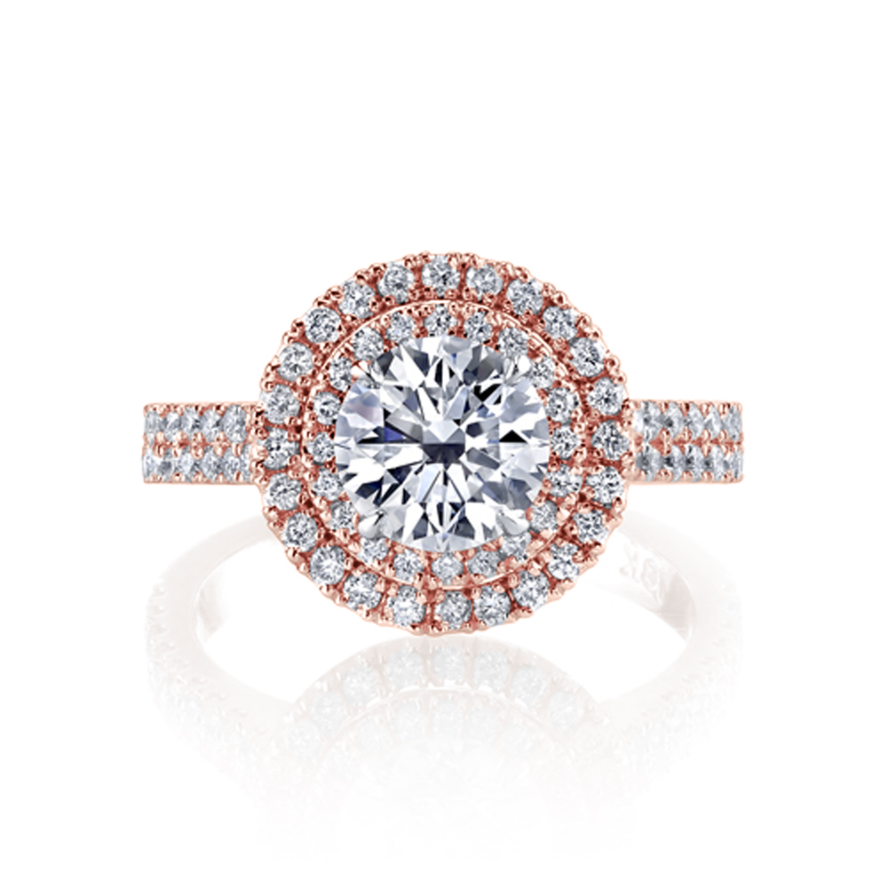 Natural Double Halo 2 Row Pave Diamond Engagement Ring