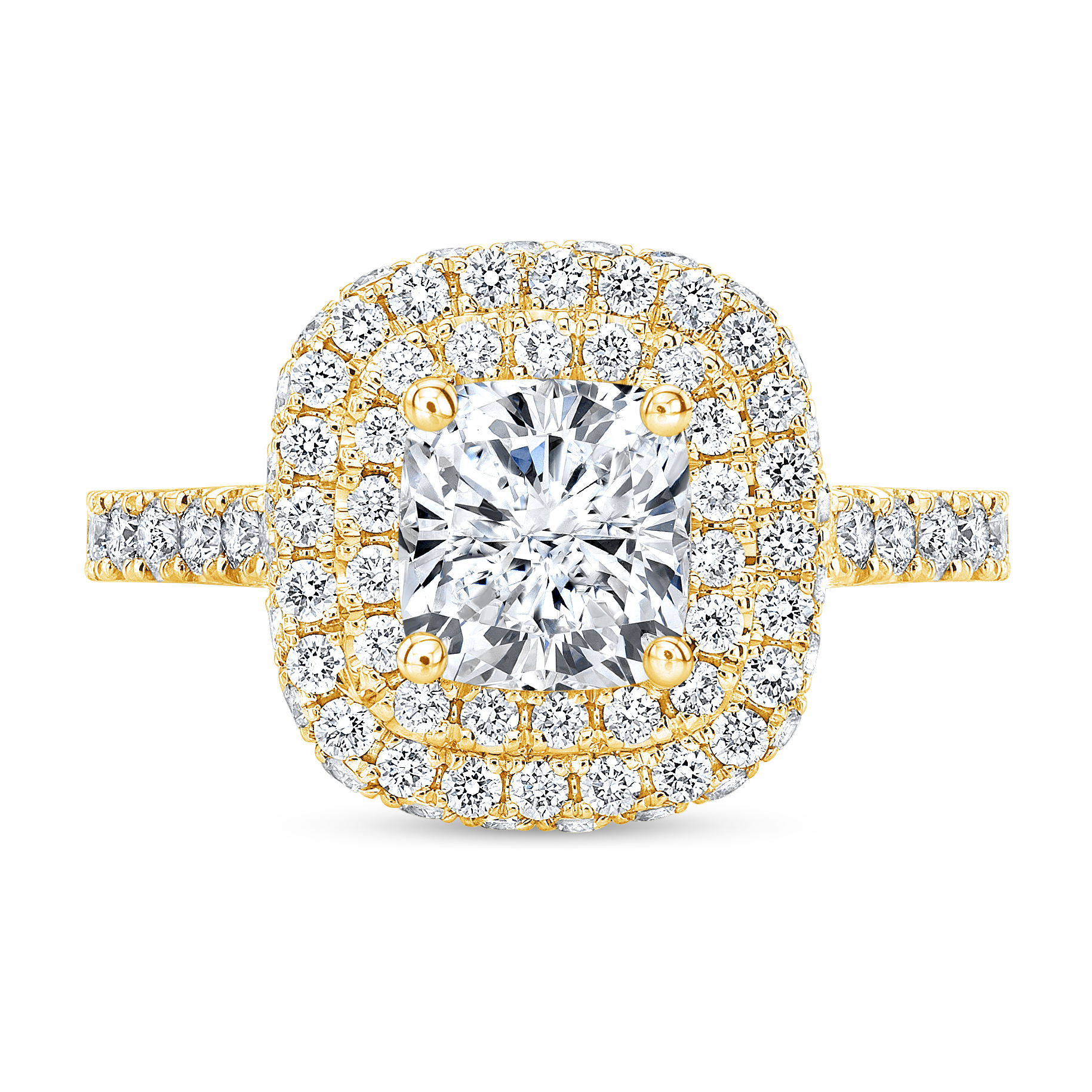 Natural Double U-Pave Halo Diamond Engagement Ring
