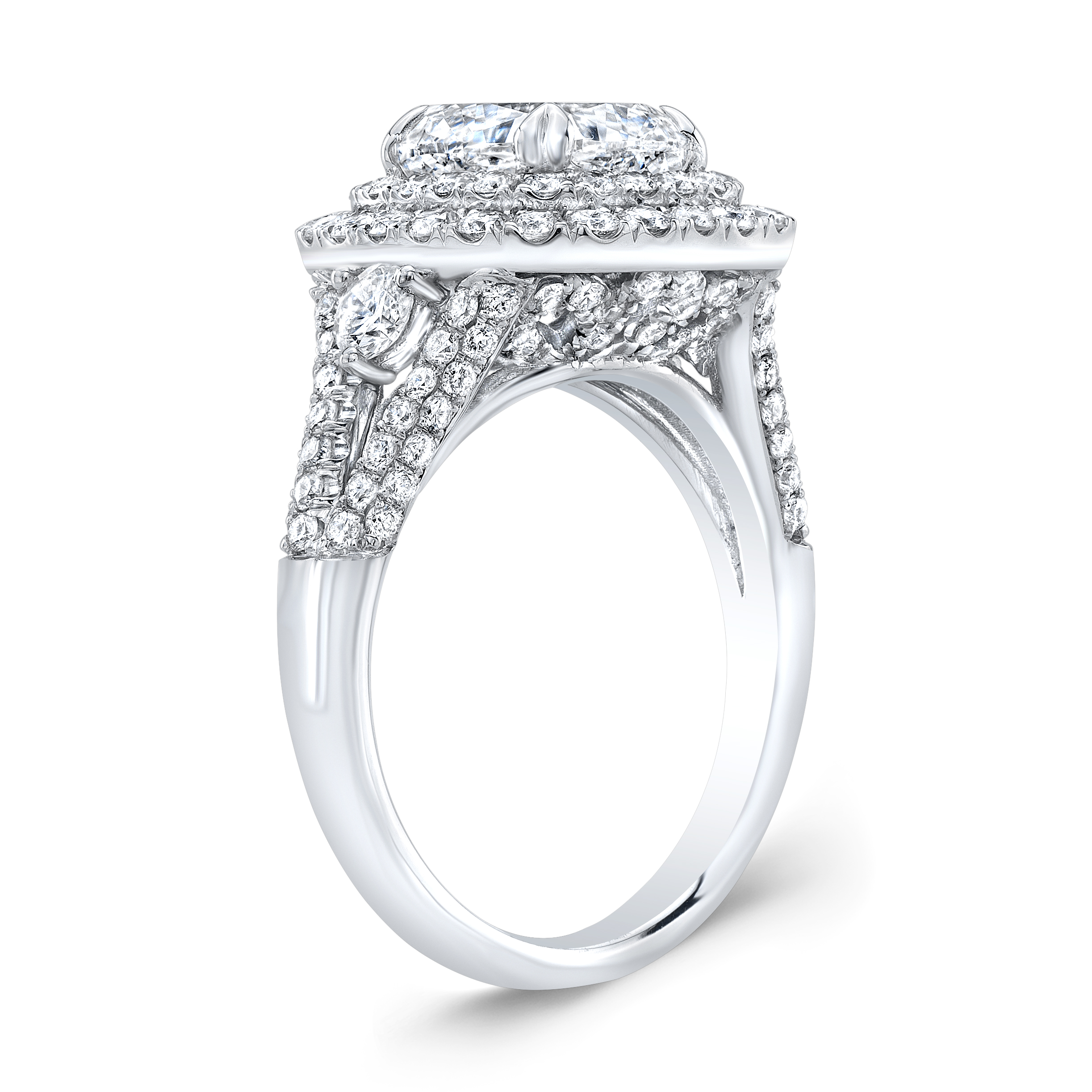 Double Halo Split Shank Micro Pave Diamond Engagement Ring
