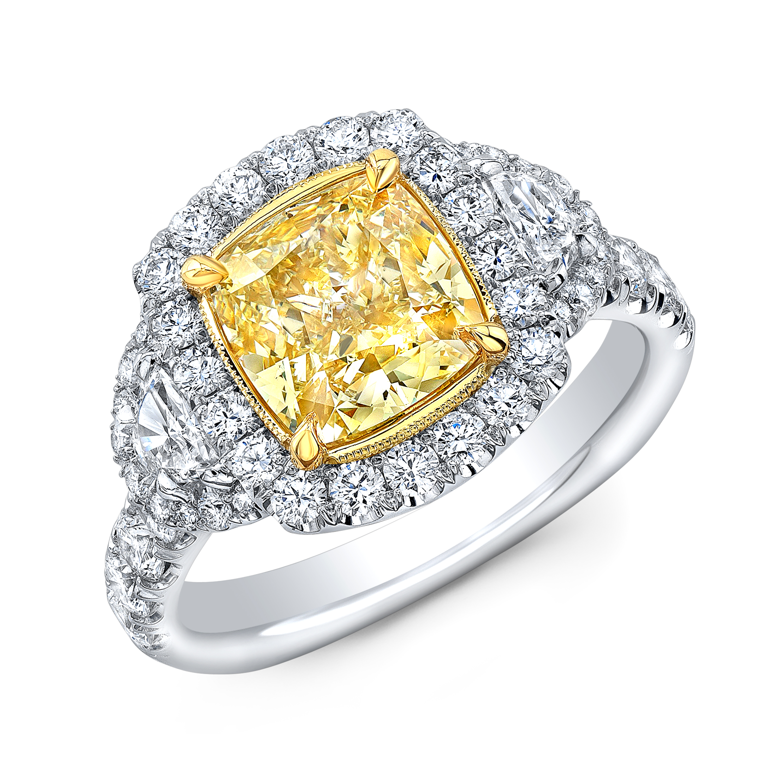 1 9 Ct Radiant Cut Canary Yellow Diamond Halo Half Moon Side Stones Yellow Canary Diamond Ring Gia Certified