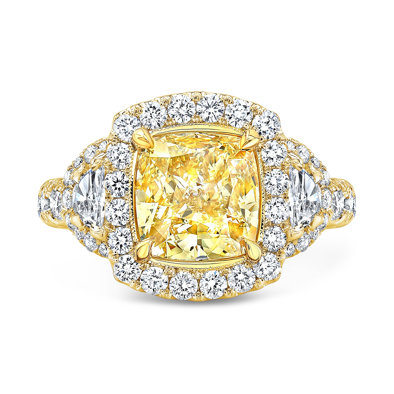 Halo Half Moon Side Stones Yellow Canary Diamond Ring