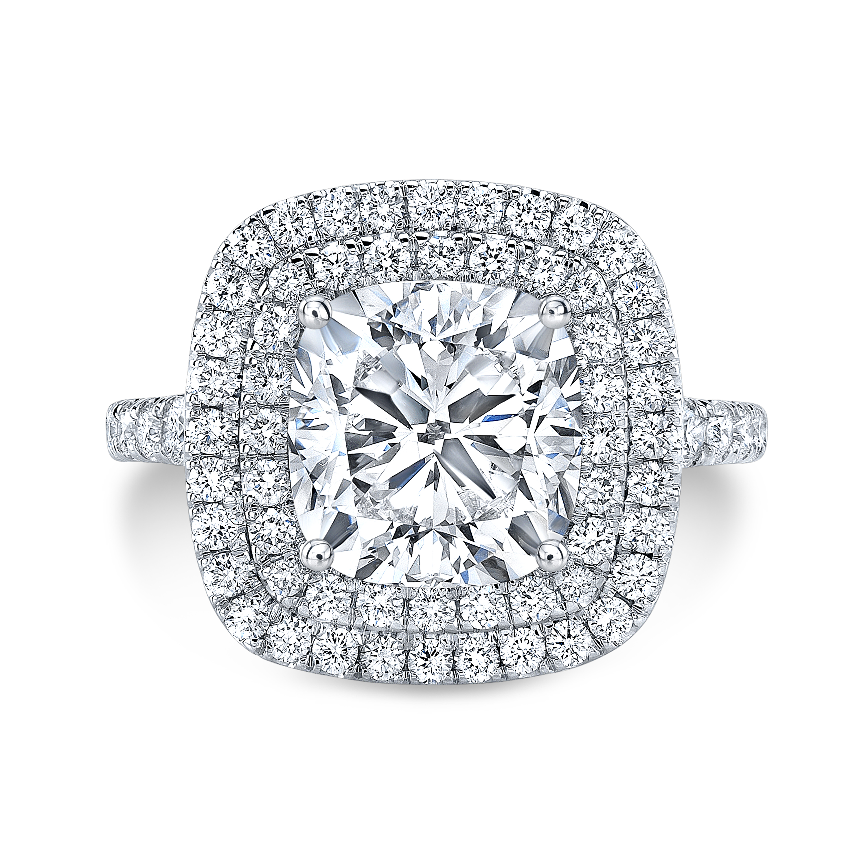 Double Halo Split Shank Pave Diamond Engagement Ring