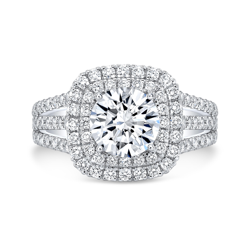 Double Halo Triple Row Shank Diamond Engagement Ring