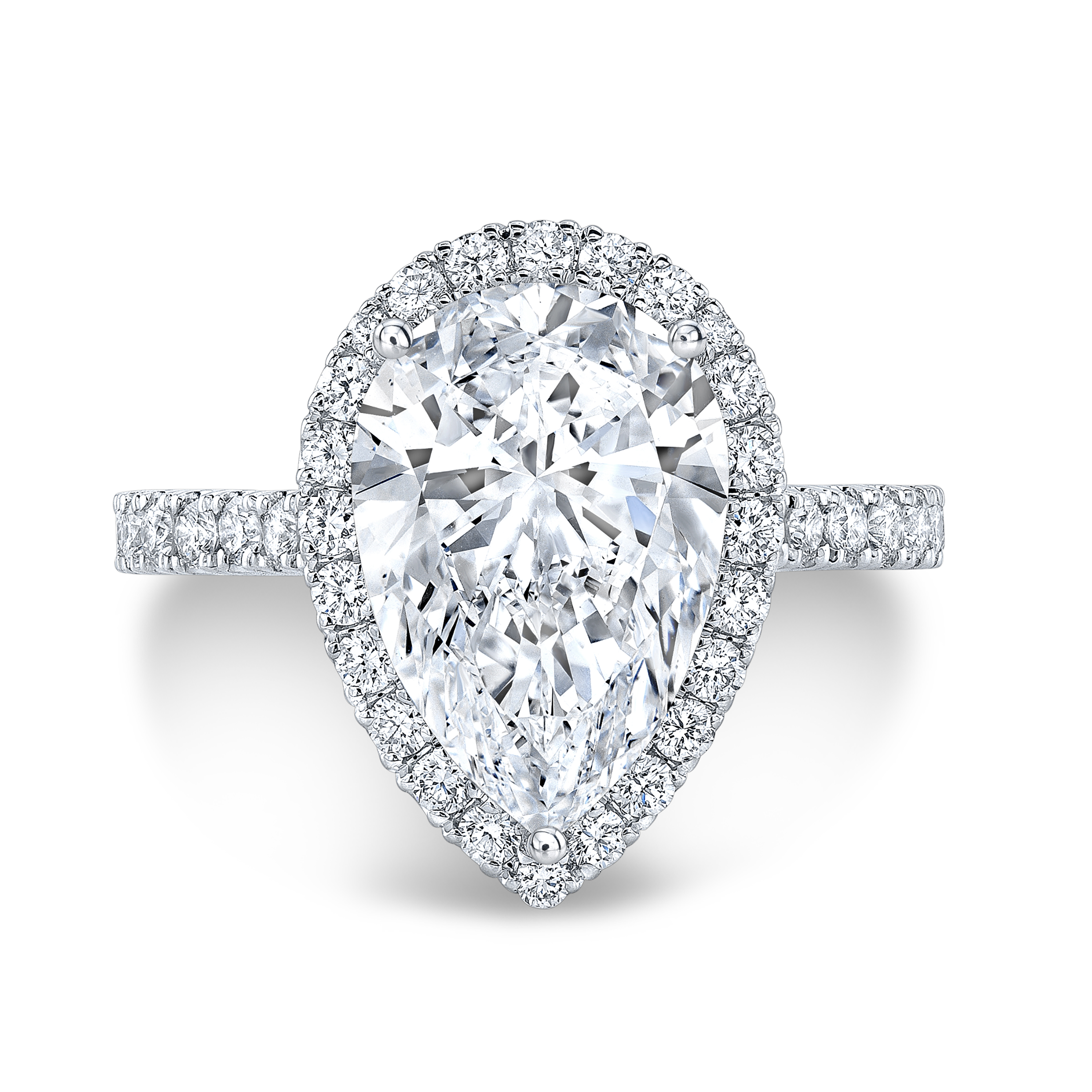 Cathedral Halo Pave Diamond Engagement Ring
