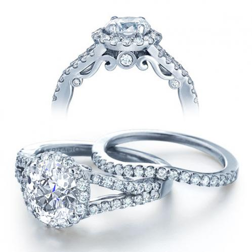 Insignia Verragio Halo Pave Split Shank Diamond Engagement Ring