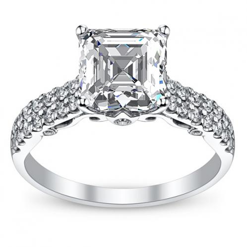 Designer Double Row Pave Verragio Diamond Engagement Ring