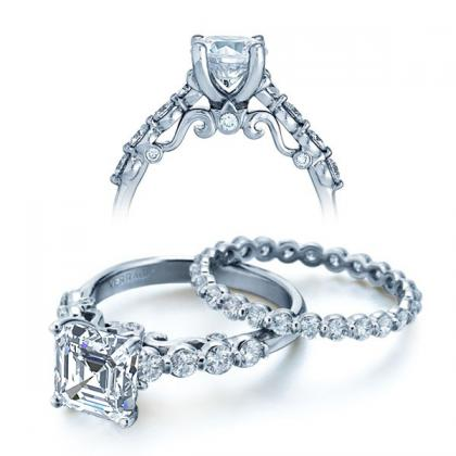 Filigree Asscher cut Engagement Rings