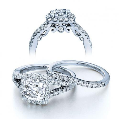 Insignia Verragio Halo Designer Natural Diamond Wedding Set