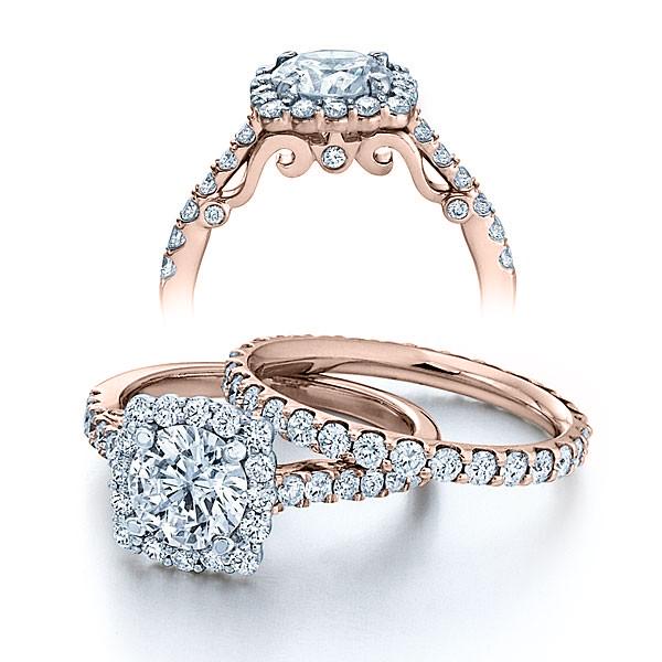 Halo Pave Insignia Verragio Vintage Natural Diamond Bridal Set
