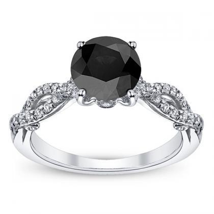 Hand Engraved Black Diamond Engagement Rings