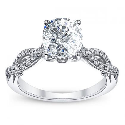 Designer  Cushion Cut Split Shank Engagement Rings