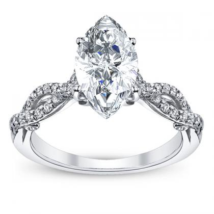 Hand Engraved Marquise cut Engagement Rings