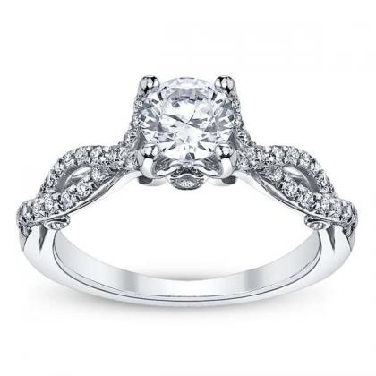 Hand Engraved Round cut Engagement Rings