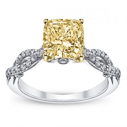 Hand Engraved Yellow Diamond Engagement Rings
