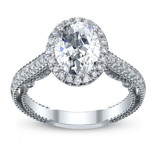Halo Filigree Verragio Designer Milgrain Natural Diamond Engagement Ring