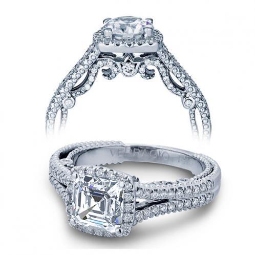 Milgrain Halo Filigree Verragio Designer Natural Diamond Bridal Set