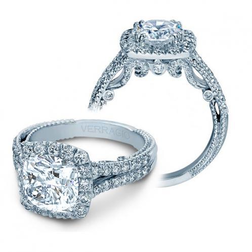 Halo Filigree Verragio Split Shank Natural Diamond Bridal Set