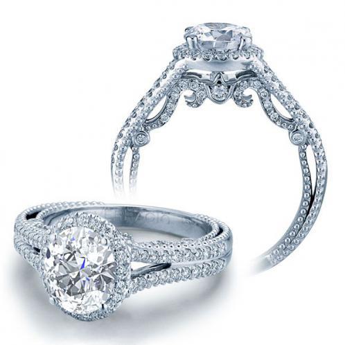 Split Shank Halo Filigree Verragio Natural Diamond Bridal Set