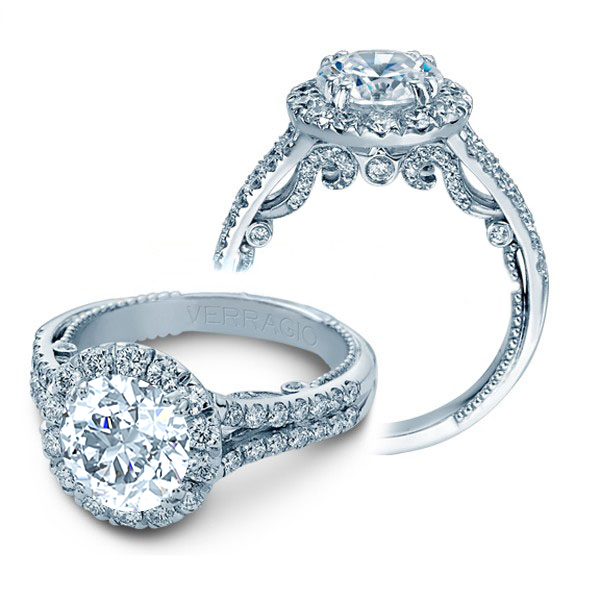 Split Shank Halo Filigree Verragio Natural Diamond Wedding Set