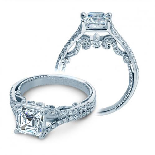 Split Shank Verragio U-Prong Designer Natural Diamond Wedding Set