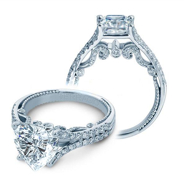 Split Shank Verragio U-Prong Designer Natural Diamond Wedding Set