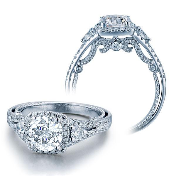 Verragio Insignia 3 Stone Halo Split Shank Designer Engagement Ring