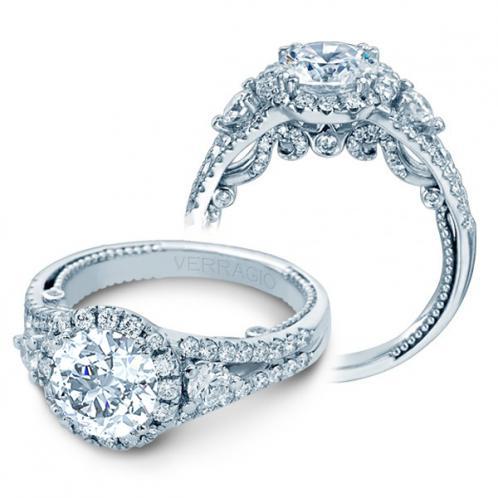 Verragio 3 Stone Insignia Halo Split Shank Designer Engagement Ring