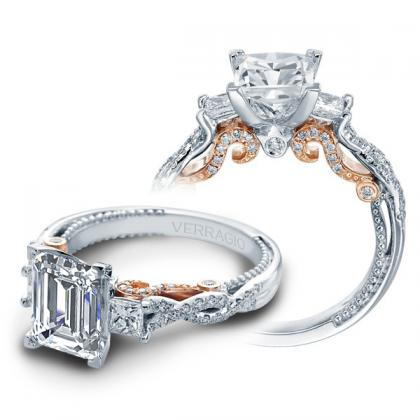 1.00ct. natural diamond emerald cut verragio insignia 3 stone infinity pave designer  engagement ring 14k white gold gia
