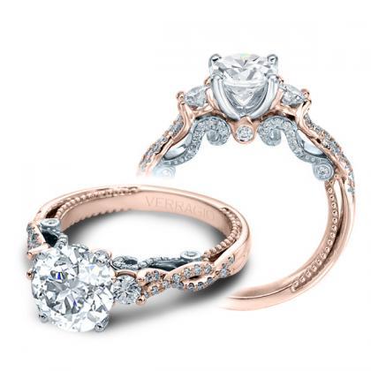 1.00ct. natural diamond round cut verragio 3 stone infinity insignia  designer engagement ring 14k rose gold gia