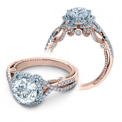 1.00ct. natural diamond round cut verragio halo insignia designer infinity engagement  ring 14k rose gold gia