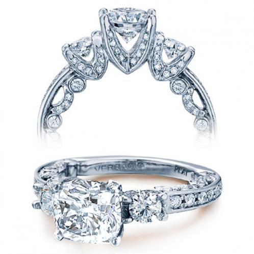 Verragio Three Stone Pave Paradiso Designer Engagement Ring