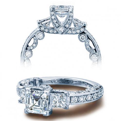 Verragio Pave Three Stone Paradiso Designer Engagement Ring