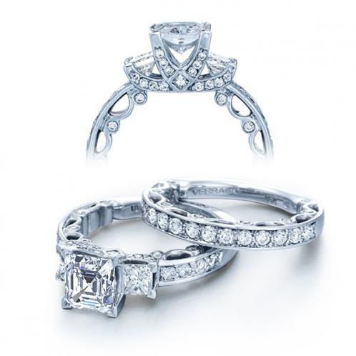 Verragio Paradiso Pave Three Stone Designer Engagement Ring