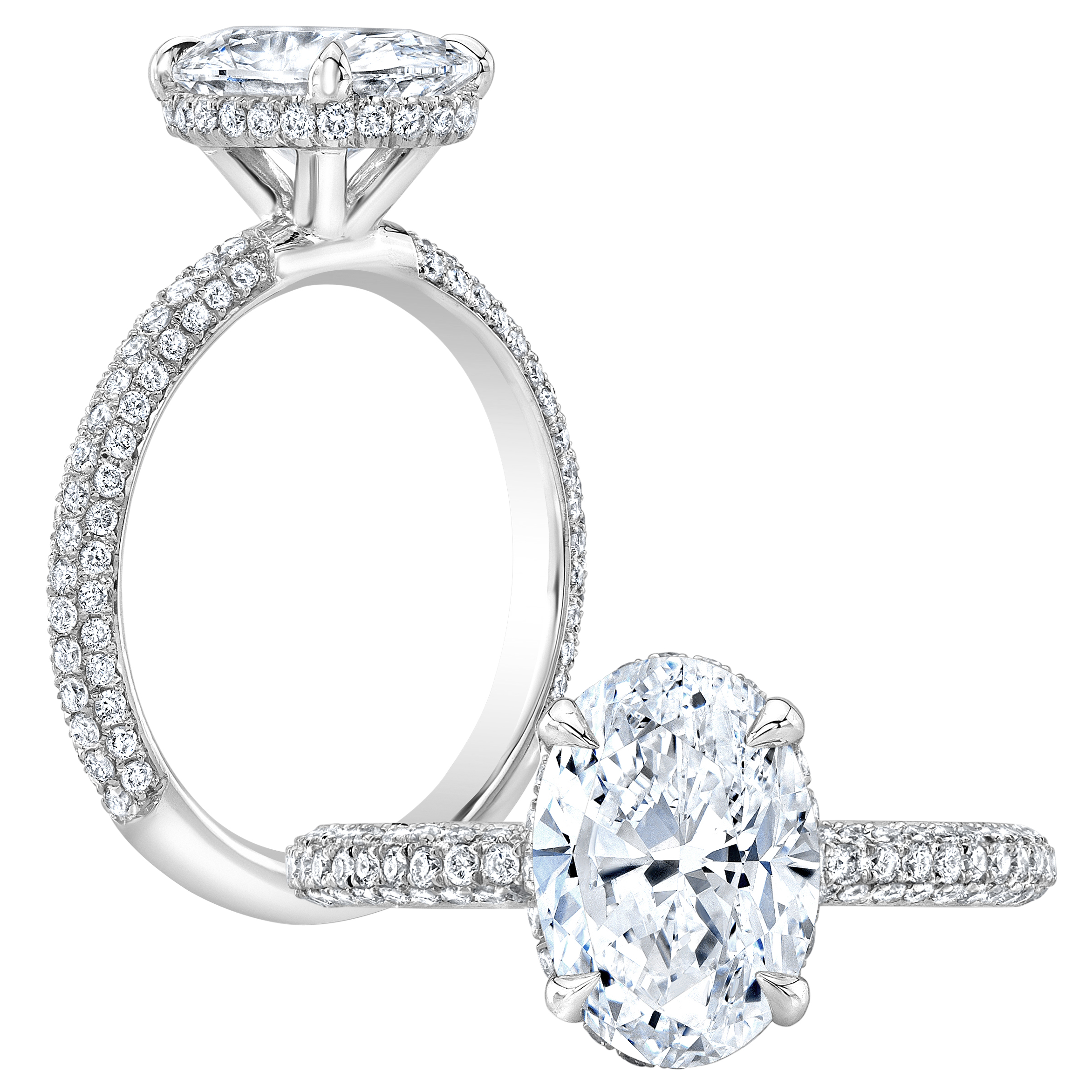 1 7 Ct Oval Cut Natural Diamond Natural Under Halo 3 Row Micro Pave Setting Diamond Engagement Ring Gia Certified