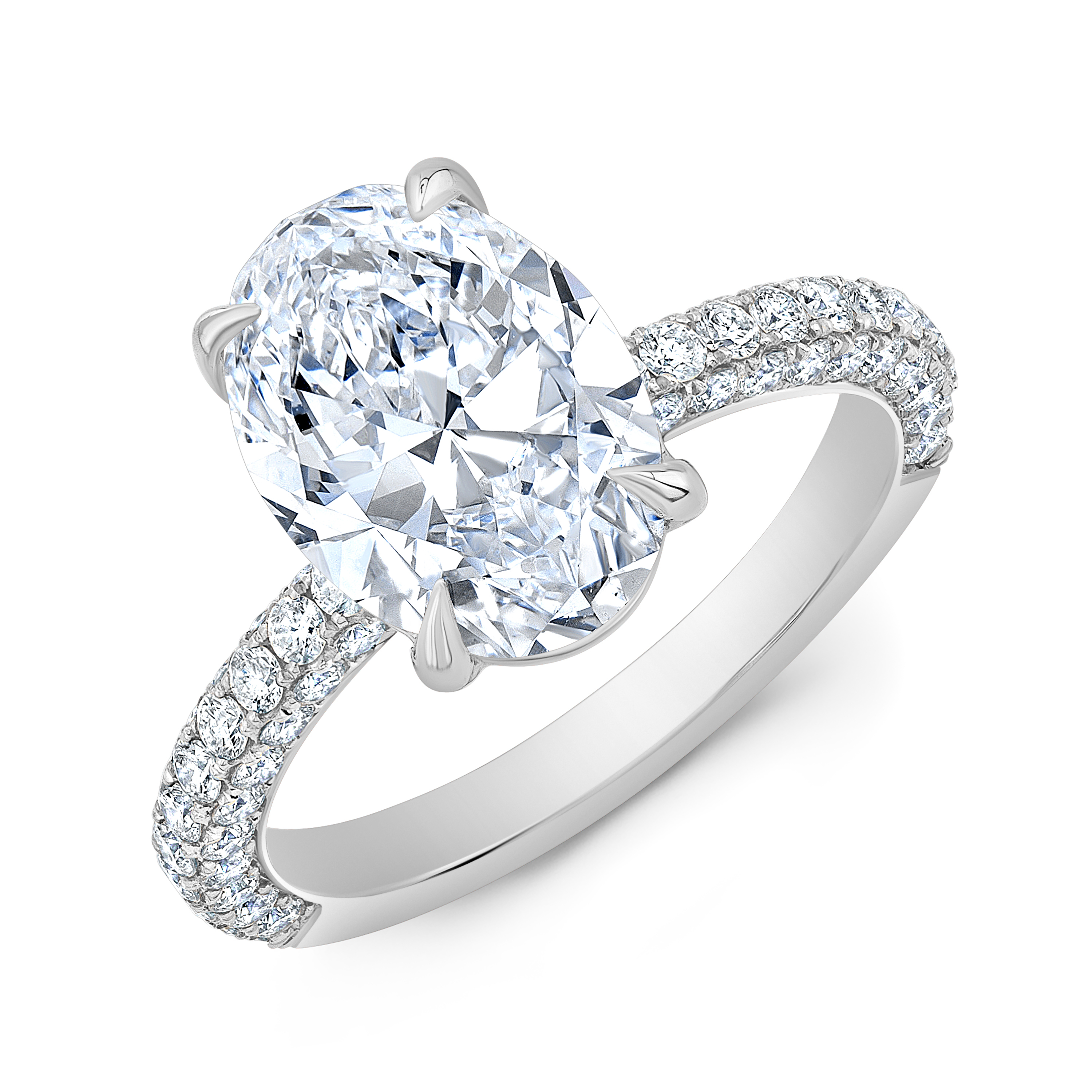 Natural 3 Row Micro Pave Diamond Engagement Ring