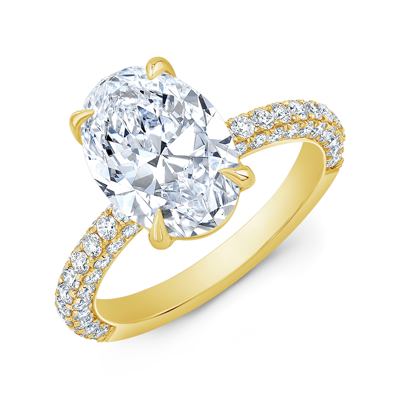 Natural 3 Row Micro Pave Diamond Engagement Ring