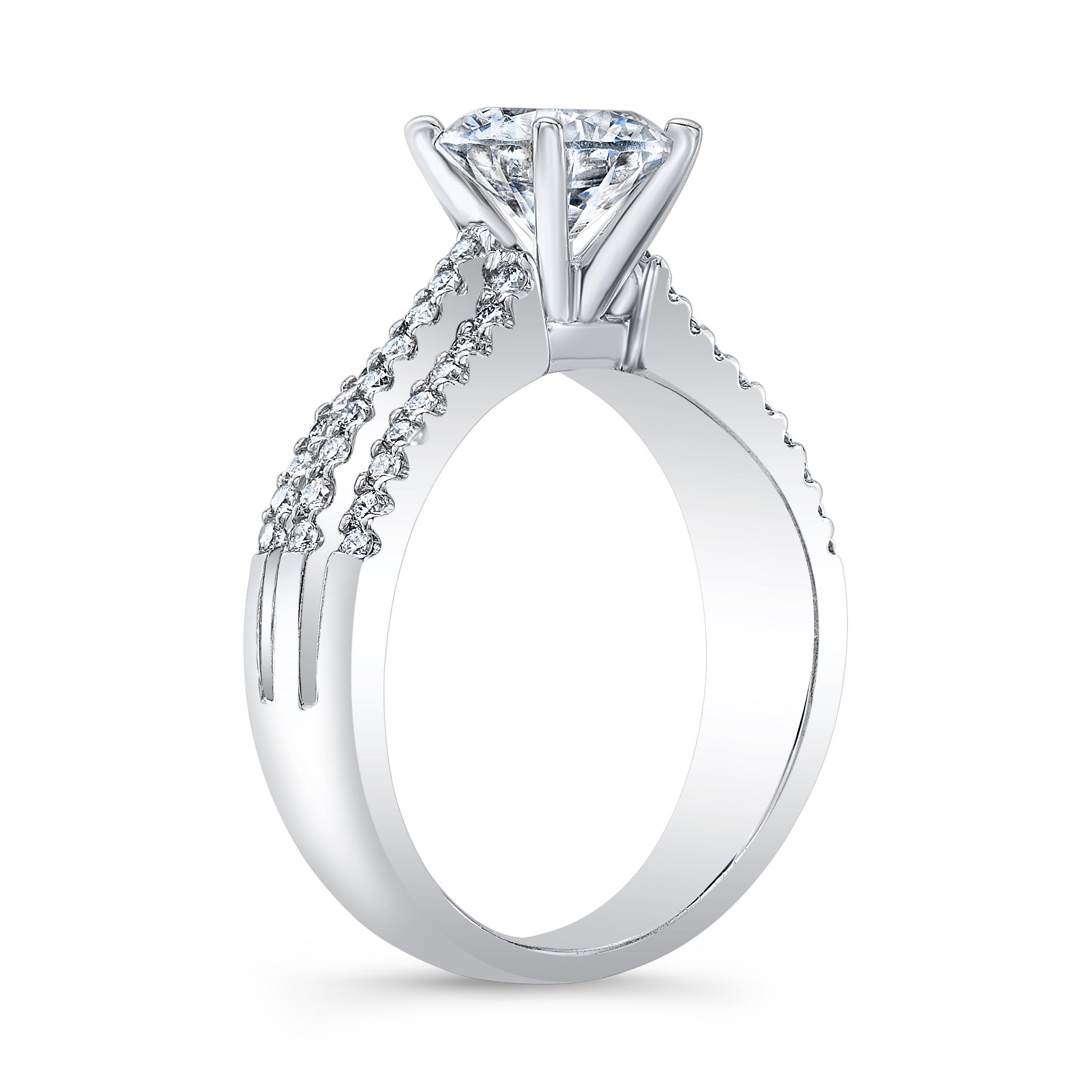 3 Row Pave Split Shank Diamond Engagement Ring