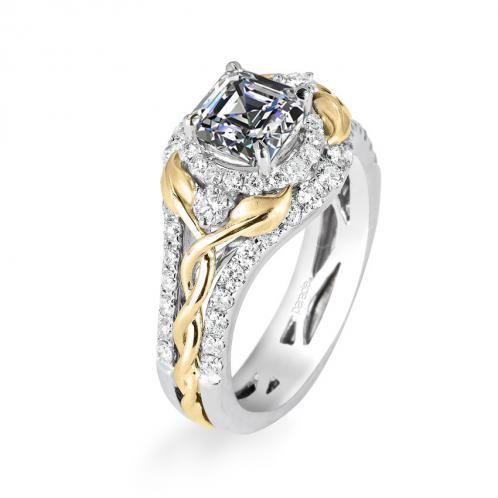 Parade Design Lyria Bridal Intertwining Leaves & Vines Design Halo Pave Ring