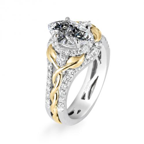 Parade Design Lyria Bridal Intertwining Leaves & Vines Design Halo Pave Ring