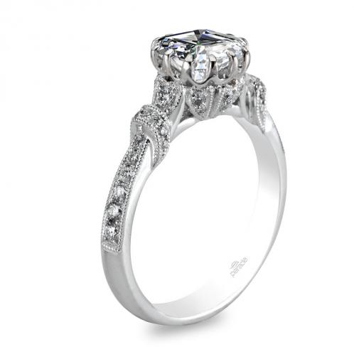 Parade Design Hera Bridal Milgrain Pave Diamond Engagement Ring