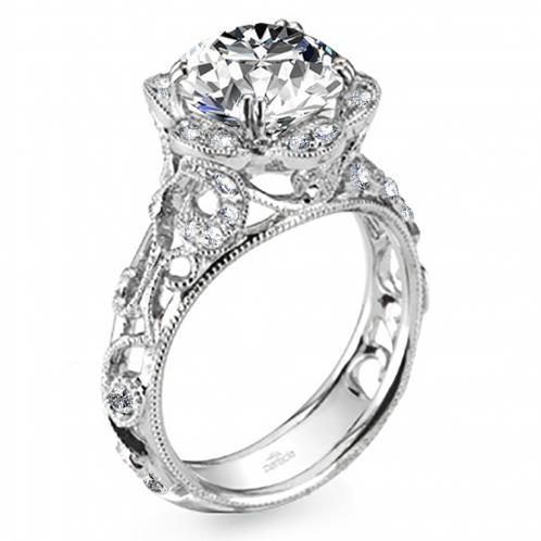 Parade Design Hera Bridal Milgrain Etched Vintage Design Ring