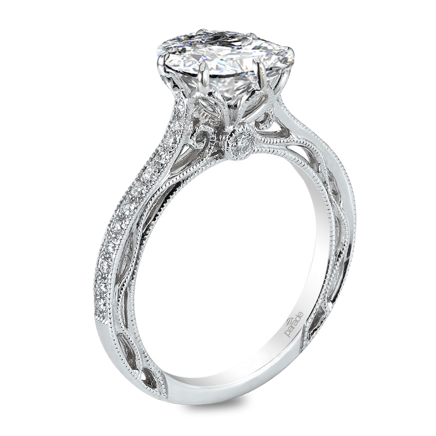 Parade Design Hera Bridal Milgrain Pave Scroll Design Diamond Ring